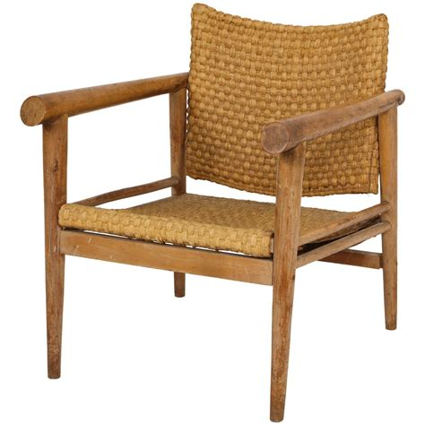 Straw Chair by Straw Wicker Woven Chair Mid Century Attr Jean