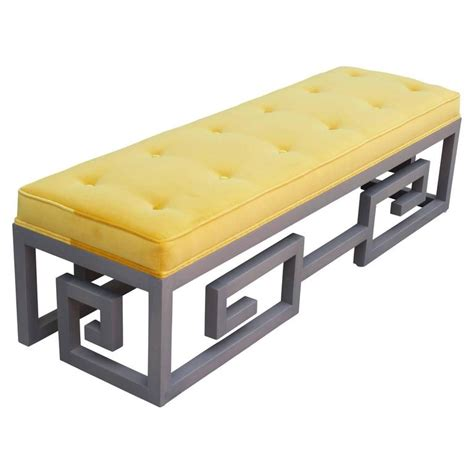 key bench modern custom made greek key rectangular bench in gray and