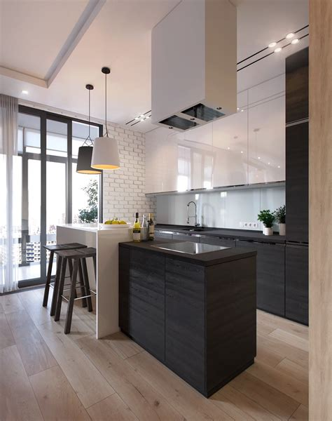 sleek kitchen design 2 one bedroom apartments with modern color schemes
