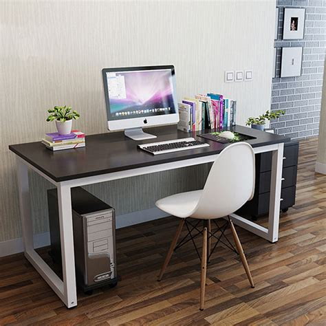 White Wood Computer Desk Computer Desk Pc Table Home Office Black White Wood Metal Furniture Workstation Ebay