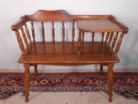 telephone gossip bench clean ethan allen heirloom solid maple gossip bench
