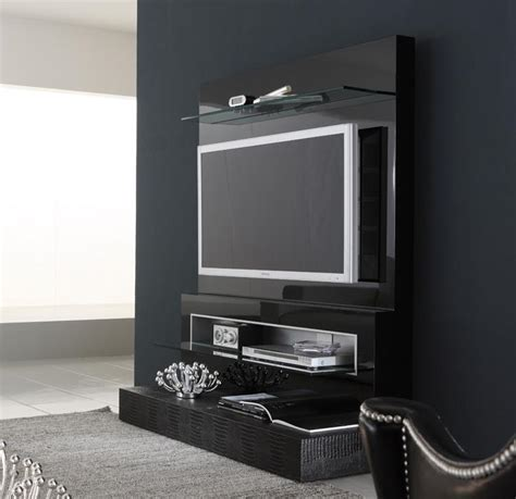 Modern Italian Lcd Black Wall Unit Design Ipc217   Lcd Tv