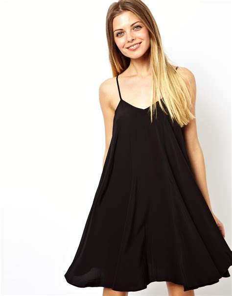 cami swing dress asos strappy back swing cami dress in black lyst