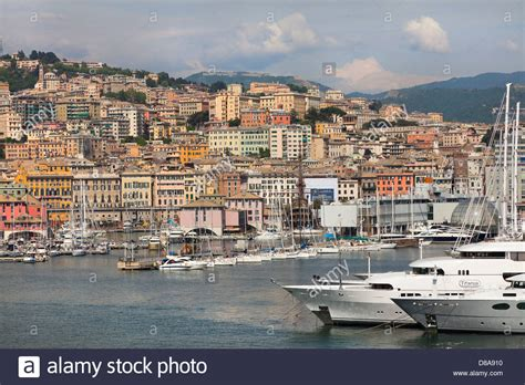 genoa italy port genoa port italy dockside view looking inland typical