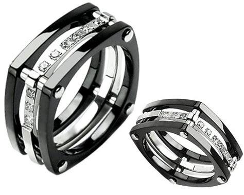 unique titanium ring wedding band with nine stones size 9