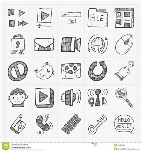 doodle website doodle web icon set stock vector image 42625450