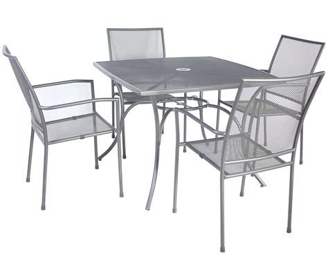 Metal Patio Table And Chairs Set Charles Bentley Outdoor Metal Mesh 5 Table And Chairs Grey Furniture Set Ebay