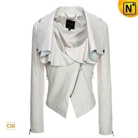 design white jacket women s white leather punk jacket hardware rivet cw670013
