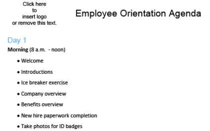 Orientation Agenda Template by Employee Orientation Program Guide Todayrecipeyp