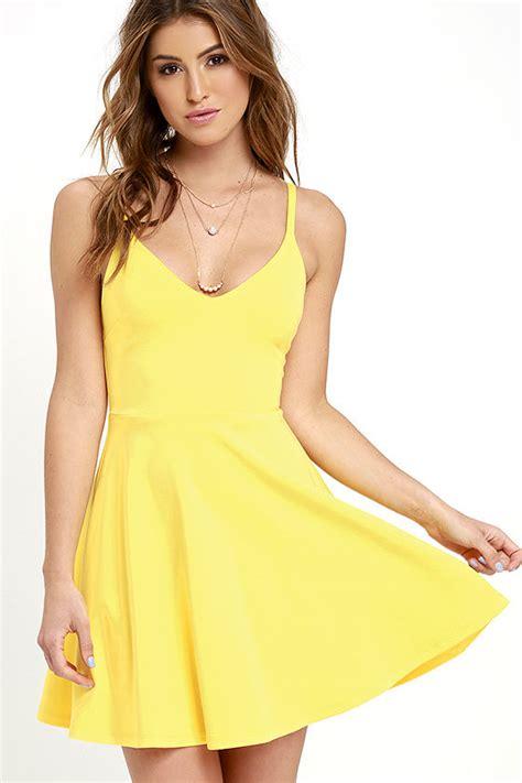 Yelloni Dress yellow dress skater dress fit and flare dress 54 00