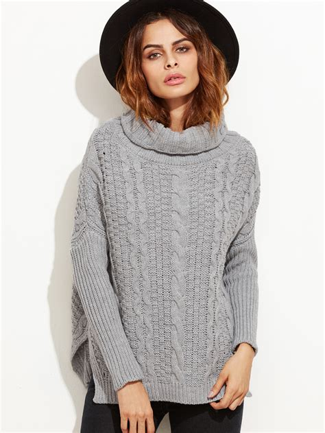 cable knit turtleneck grey cable knit turtleneck high low sweater makemechic