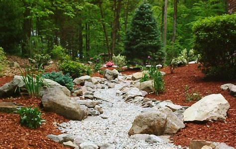 drainage ditch landscaping ideas landscape rock drainage ditch gardening
