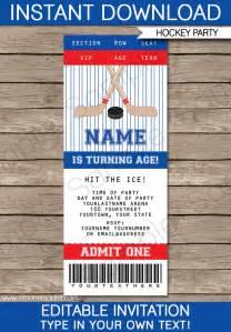 ticket birthday invitation template hockey ticket invitations birthday template