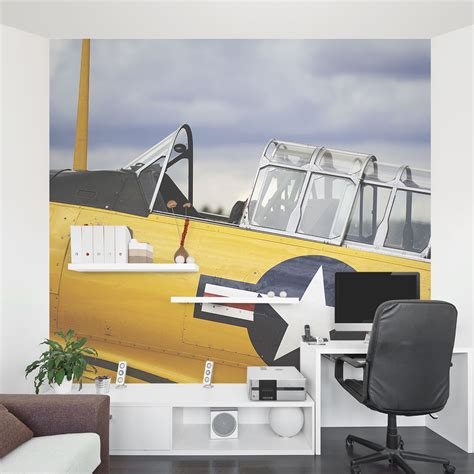 airplane wall murals vintage yellow plane wall mural