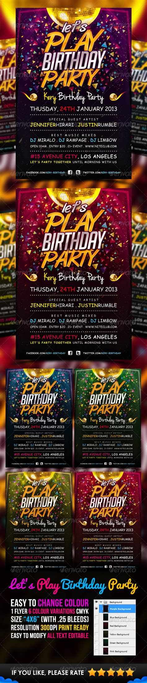 Print Template Graphicriver Lets Play Birthday Party Flyer Template 3442369 187 Dondrup Com Play Flyer Template