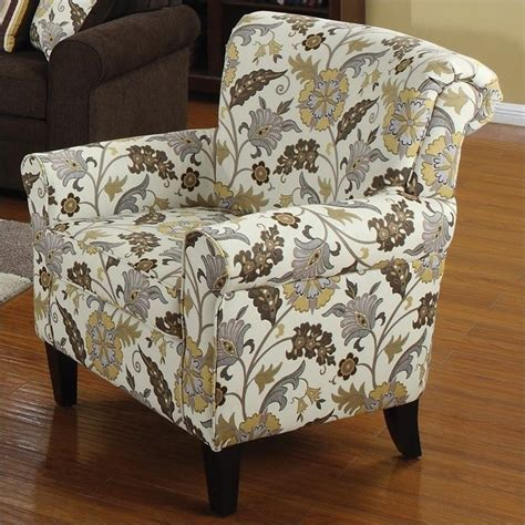 Coaster Dining Room Furniture by Club Chair In Brown Flower Motif 902082