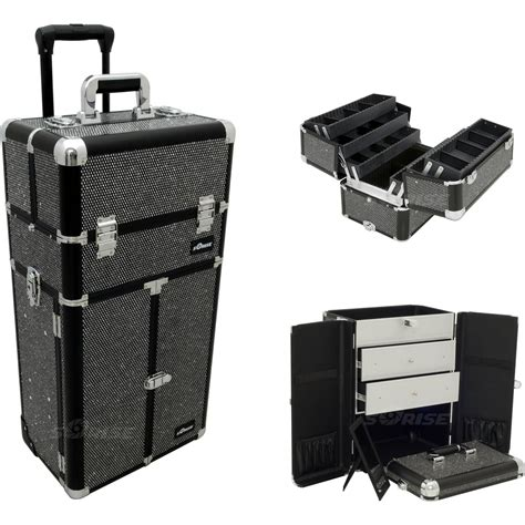 large rolling makeup case with drawers black krystal professional rolling aluminum cosmetic