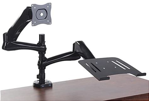 laptop arms desk mount desk mount dual monitor arm one laptop one screen holder
