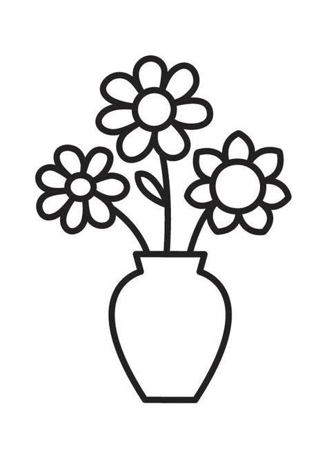 Flowers In Vase Coloring Pages by Flower Vase Coloring Pages Flower Coloring Page