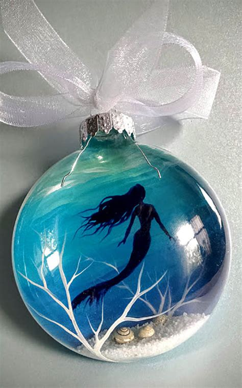 mermaid ornaments mermaid ornament painted glass blue aquatic