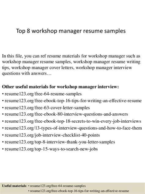 Workshop Manager Cover Letter Top 8 Workshop Manager Resume Sles