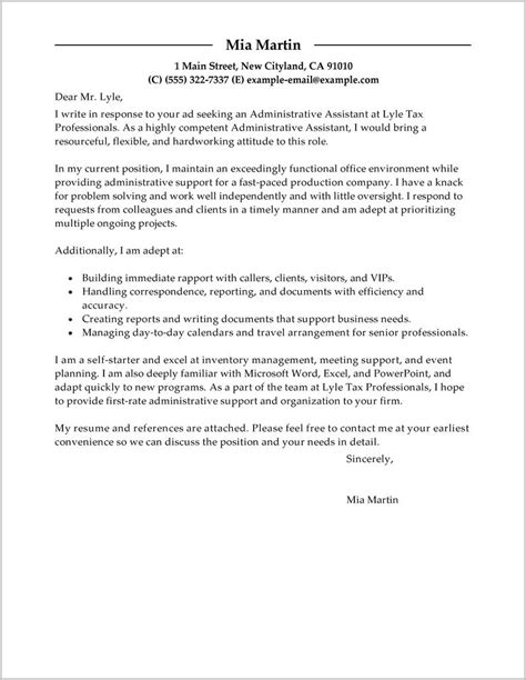Resume Cover Letter For Assistant by Free Cover Letter Sle For Administrative Assistant