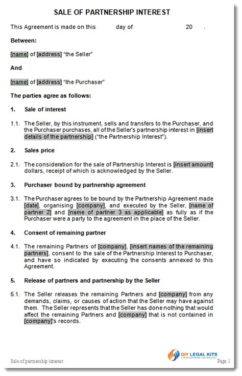 Sales Partnership Agreement Template sale of partnership interest agreement contract