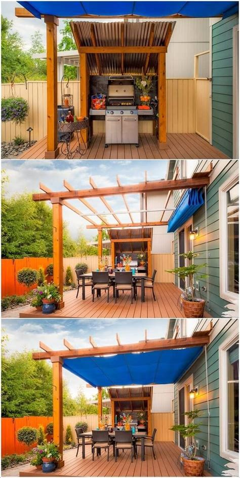 backyard grill area best 25 tarp shade ideas on pinterest