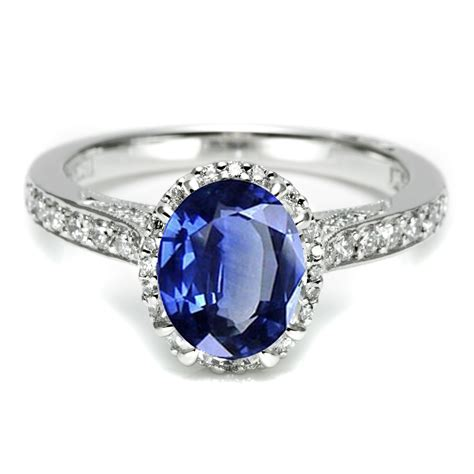 platinum sapphire diamond tacori engagement ring