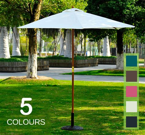 Outdoor L Shade by 2 5m Wood Wooden Garden Parasol Sun Shade Patio Outdoor