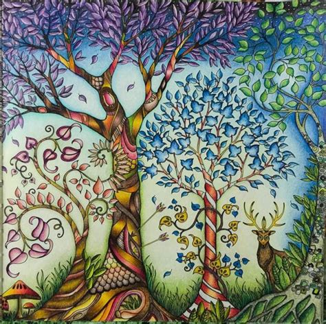secret garden or enchanted forest coloring book trees coloring and gel pens on
