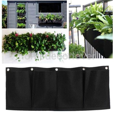 outdoor wall hanging planters 4 pockets hanging horizontal garden wall planter bag