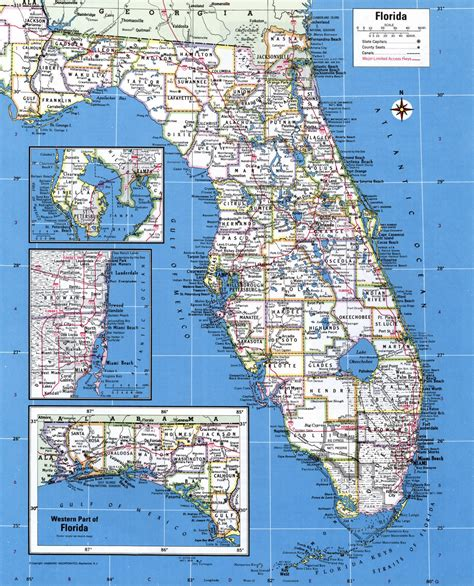 detailed map of florida large detailed administrative map of florida state with