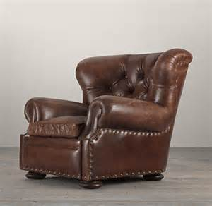 Restoration Hardware Recliner Churchill Leather Chair With Nailheads