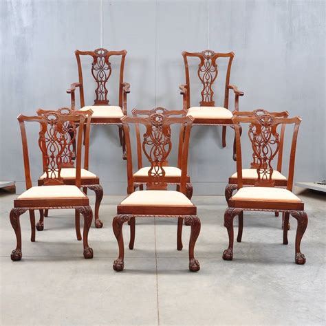Armchairs For Dining Room Set Of Dining Chairs And Armchairs De Grande Antiques