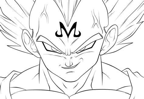 vegeta face coloring coloring pages