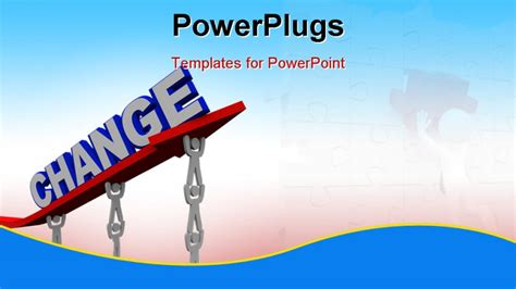 change powerpoint template the word change on an arrow that is rising by being lifted