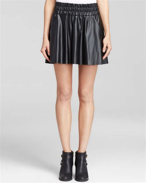 pam gela skirt faux leather high waist skater in black