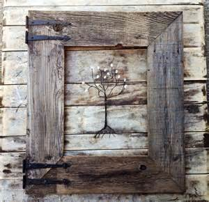 Rustic Antique Decor by Rustic Barn Wood Frame With Vintage Rustic Hinges Menas