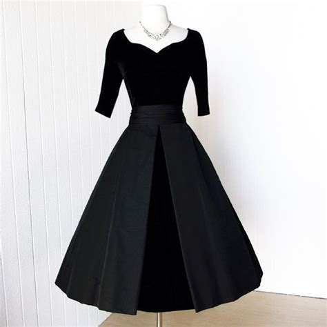 Dress Classic Black vintage 1950 s dress classic inspired suzy perette ink black velvet and faille