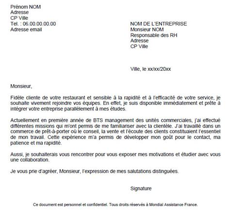 Lettre De Motivation Candidature Spontanée General Candidature Spontan 195 169 E