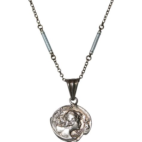 antique nouveau lucien coudray silver medallion