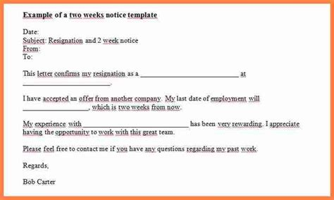 simple 2 weeks notice letter two template also designbusiness info