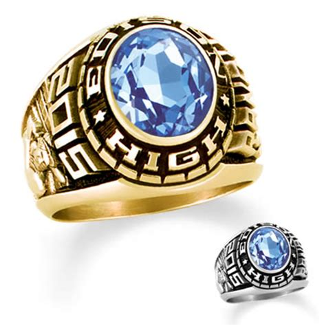 Men s 10k gold designer medalist class ring by artcarved 174 1 stone