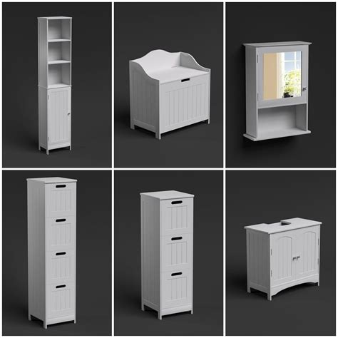Free Standing Wall White Bathroom Storage Cabinet Unit Bathroom Storage Unit White