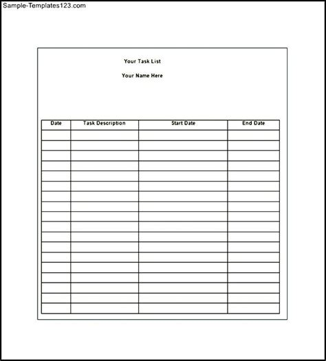 daily task list template word sle daily task list template word sle templates