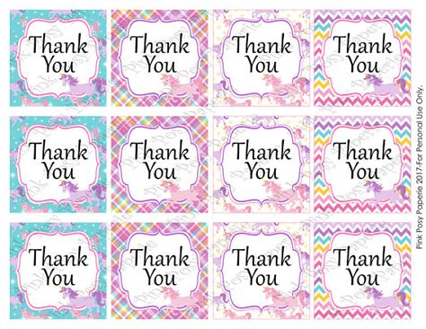 printable unicorn thank you tags printable unicorn birthday thank you tags instant