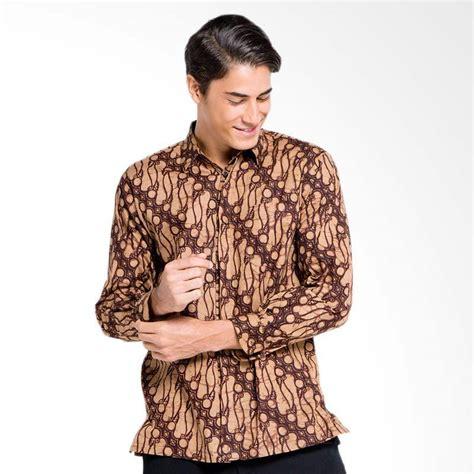 Kemeja Pria Lengan Panjang Batik Parang Coklat jual batik aksen tropis remek parang gemuk kemeja pria