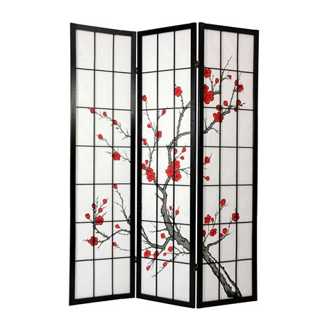 Japanese Room Divider Furniture Cblss Cherry Blossom Shoji Screen Room Divider Black Atg Stores