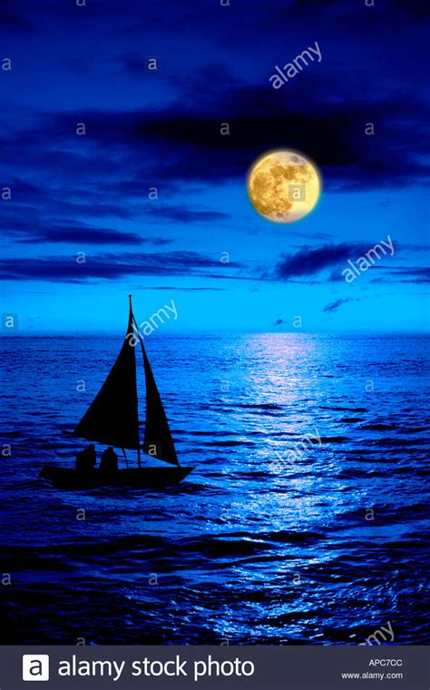 boat sea pictures boat on sea night full moon stock photo royalty free